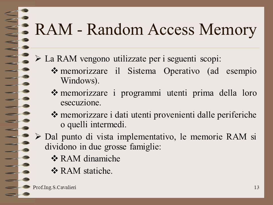 Prof.Ing.S.Cavalieri13 RAM - Random Access Memory La RAM vengono utilizzate per i seguenti scopi: memorizzare il Sistema Operativo (ad esempio Windows).