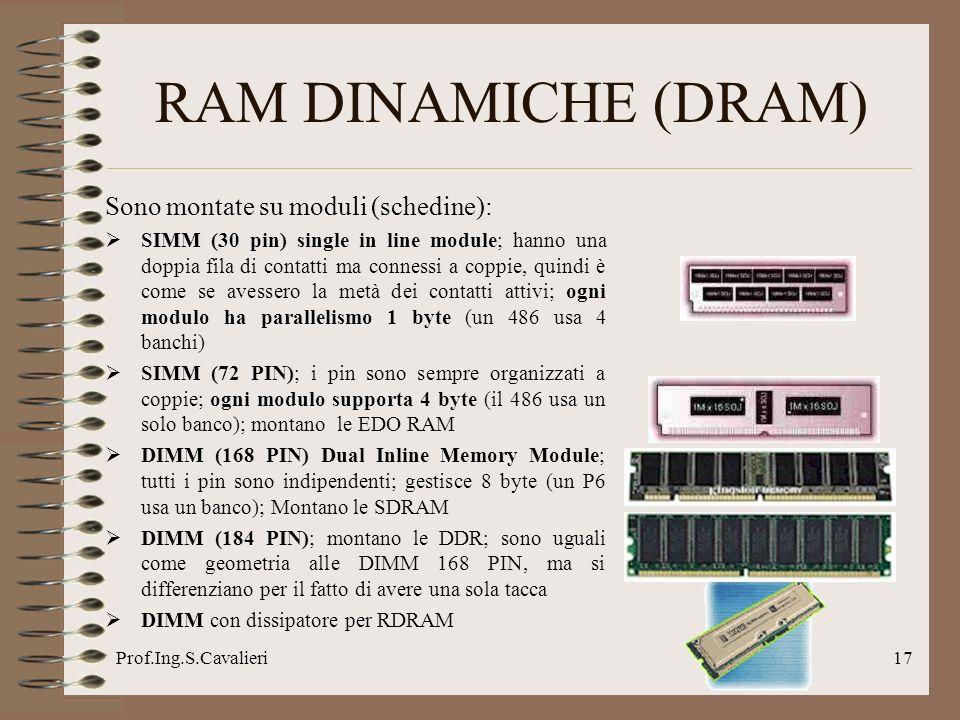 Prof.Ing.S.Cavalieri17 Sono montate su moduli (schedine): SIMM (30 pin) single in line module; hanno una doppia fila di contatti ma connessi a coppie, quindi è come se avessero la metà dei contatti attivi; ogni modulo ha parallelismo 1 byte (un 486 usa 4 banchi) SIMM (72 PIN); i pin sono sempre organizzati a coppie; ogni modulo supporta 4 byte (il 486 usa un solo banco); montano le EDO RAM DIMM (168 PIN) Dual Inline Memory Module; tutti i pin sono indipendenti; gestisce 8 byte (un P6 usa un banco); Montano le SDRAM DIMM (184 PIN); montano le DDR; sono uguali come geometria alle DIMM 168 PIN, ma si differenziano per il fatto di avere una sola tacca DIMM con dissipatore per RDRAM RAM DINAMICHE (DRAM)