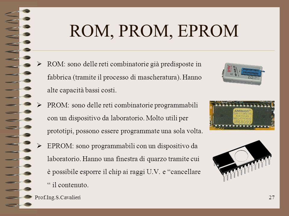 Prof.Ing.S.Cavalieri27 ROM, PROM, EPROM ROM: sono delle reti combinatorie già predisposte in fabbrica (tramite il processo di mascheratura).