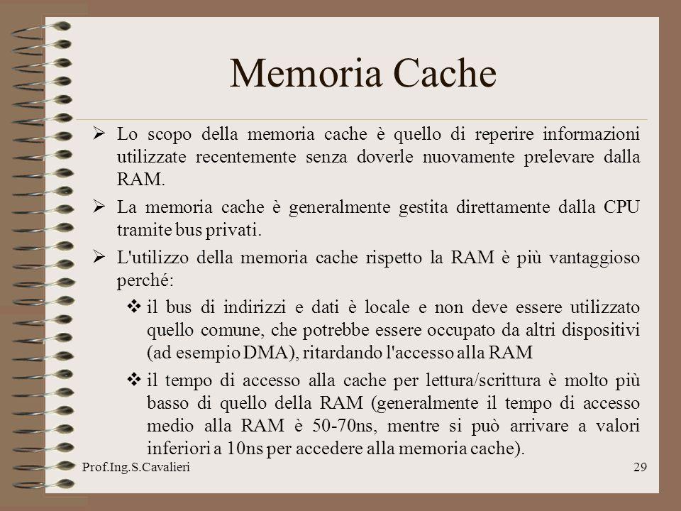 Prof.Ing.S.Cavalieri29 Memoria Cache Lo scopo della memoria cache è quello di reperire informazioni utilizzate recentemente senza doverle nuovamente prelevare dalla RAM.