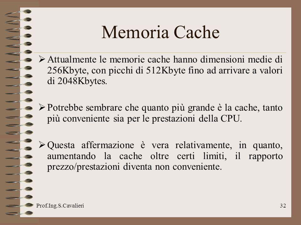Prof.Ing.S.Cavalieri32 Attualmente le memorie cache hanno dimensioni medie di 256Kbyte, con picchi di 512Kbyte fino ad arrivare a valori di 2048Kbytes.