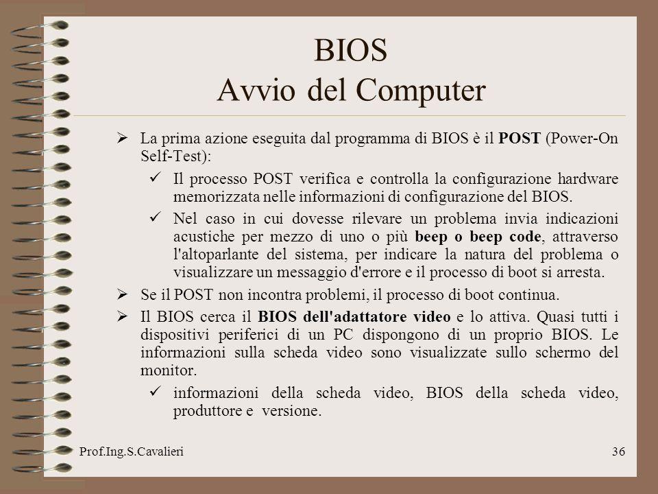 Prof.Ing.S.Cavalieri36 La prima azione eseguita dal programma di BIOS è il POST (Power-On Self-Test): Il processo POST verifica e controlla la configurazione hardware memorizzata nelle informazioni di configurazione del BIOS.