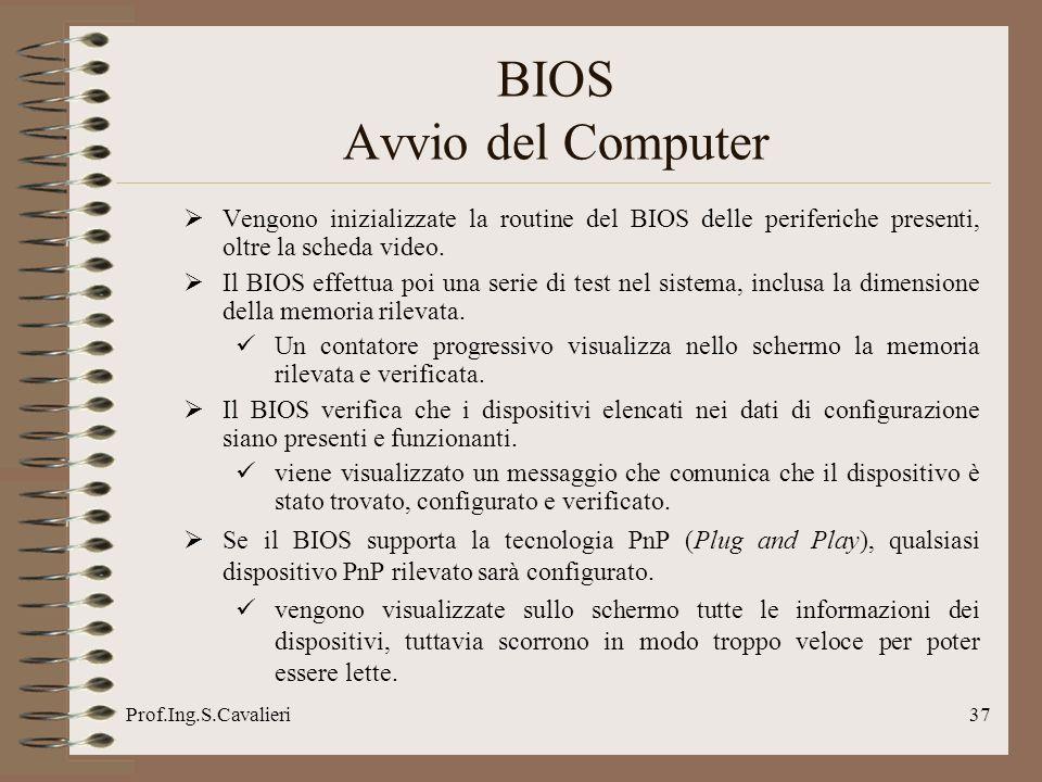 Prof.Ing.S.Cavalieri37 Vengono inizializzate la routine del BIOS delle periferiche presenti, oltre la scheda video.