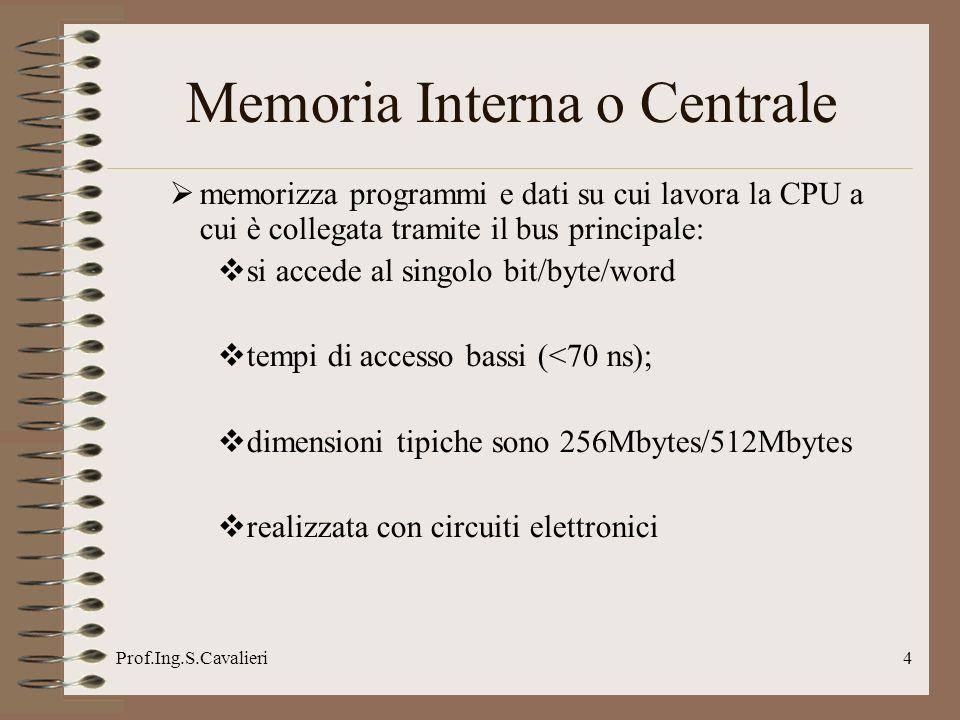 Prof.Ing.S.Cavalieri4 Memoria Interna o Centrale memorizza programmi e dati su cui lavora la CPU a cui è collegata tramite il bus principale: si accede al singolo bit/byte/word tempi di accesso bassi (<70 ns); dimensioni tipiche sono 256Mbytes/512Mbytes realizzata con circuiti elettronici