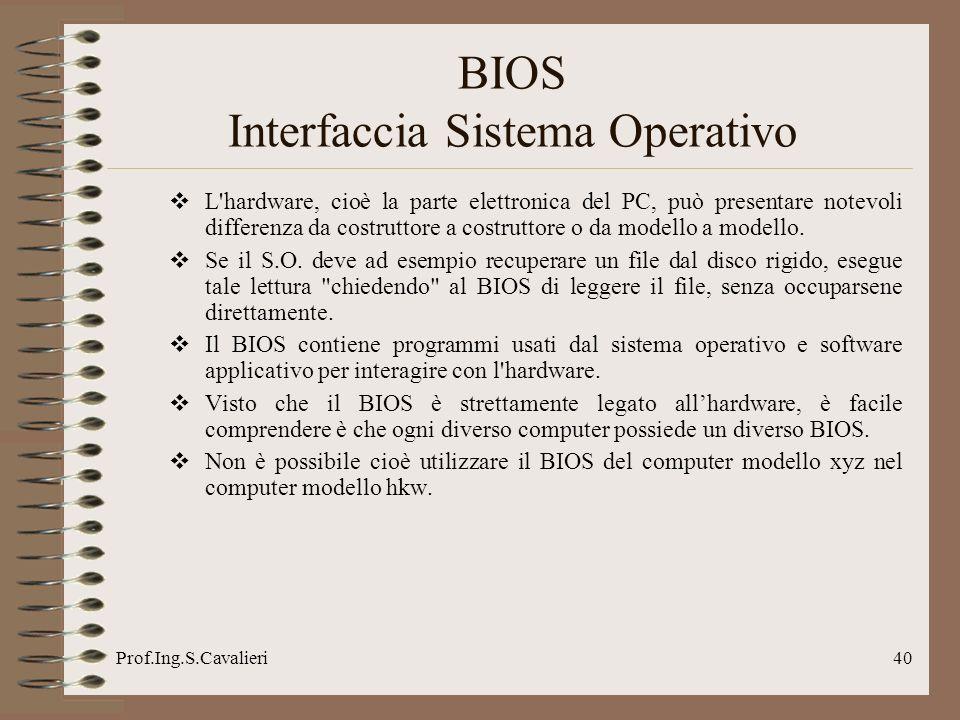 Prof.Ing.S.Cavalieri40 L hardware, cioè la parte elettronica del PC, può presentare notevoli differenza da costruttore a costruttore o da modello a modello.
