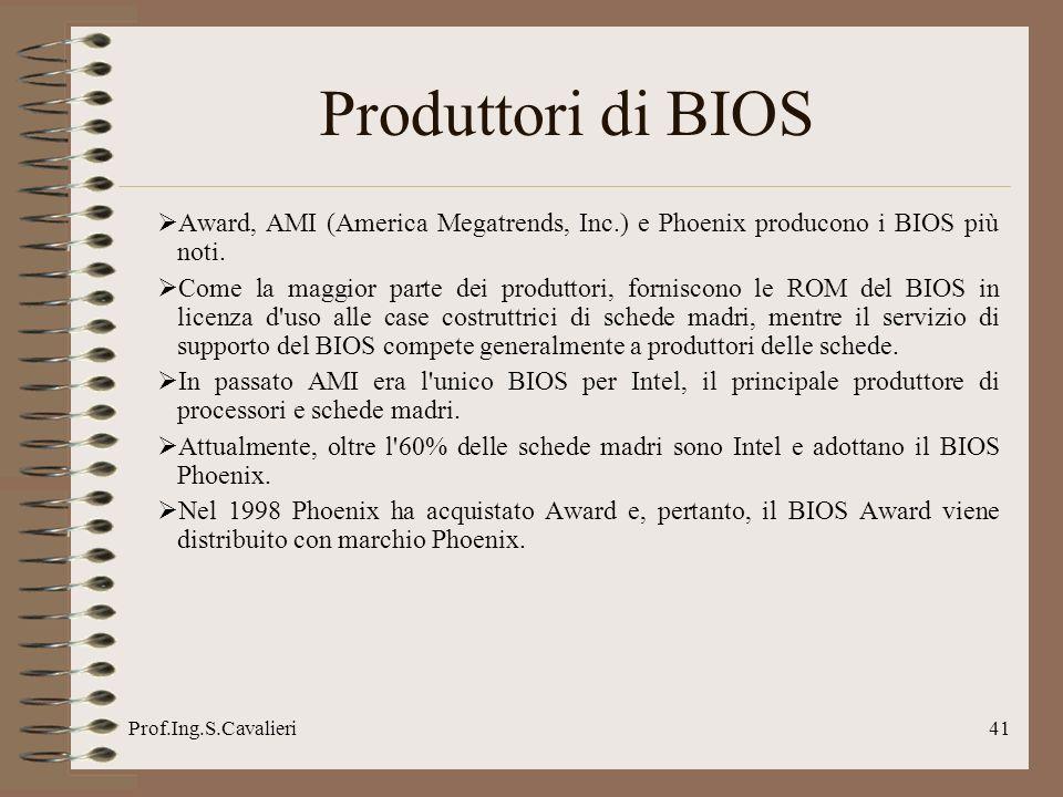 Prof.Ing.S.Cavalieri41 Produttori di BIOS Award, AMI (America Megatrends, Inc.) e Phoenix producono i BIOS più noti.