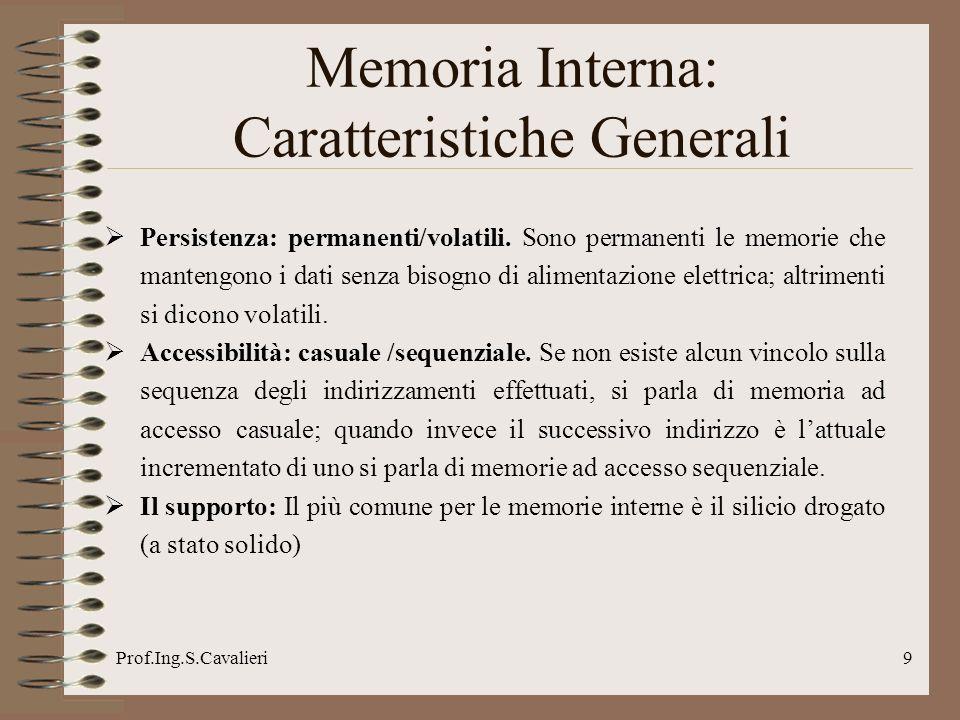 Prof.Ing.S.Cavalieri9 Persistenza: permanenti/volatili.