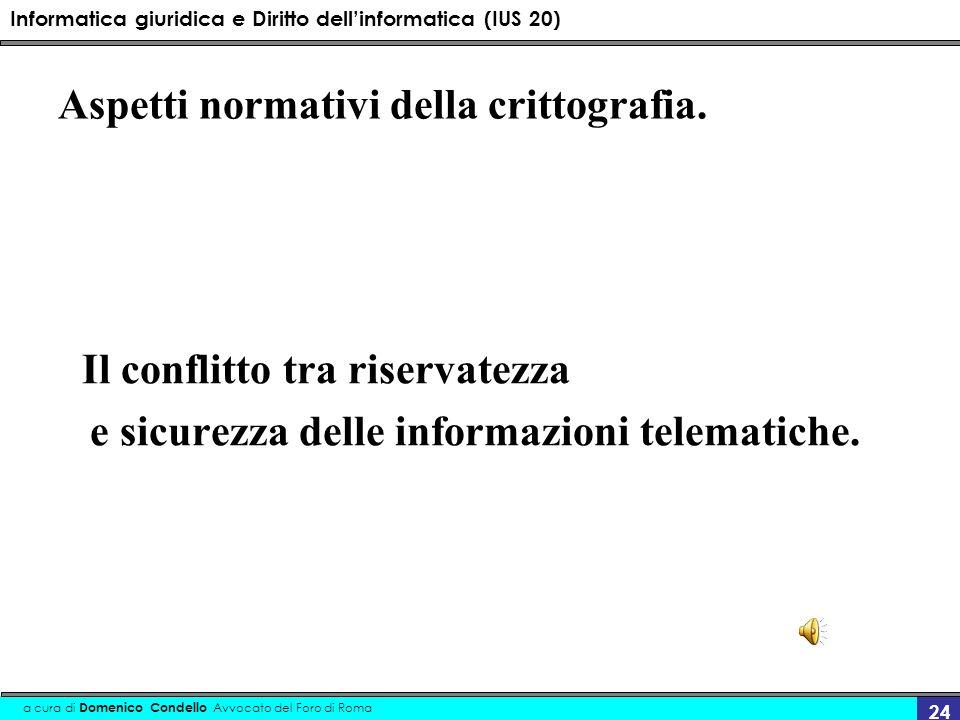 Informatica giuridica e Diritto dellinformatica (IUS 20) a cura di Domenico Condello Avvocato del Foro di Roma 24 Aspetti normativi della crittografia.