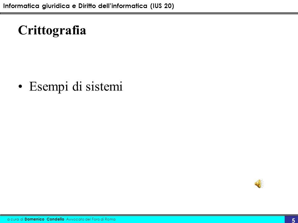 Informatica giuridica e Diritto dellinformatica (IUS 20) a cura di Domenico Condello Avvocato del Foro di Roma 5 Crittografia Esempi di sistemi