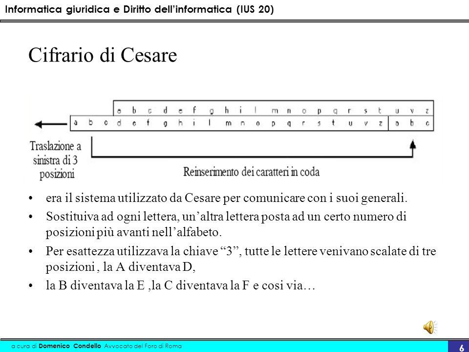 Informatica giuridica e Diritto dellinformatica (IUS 20) a cura di Domenico Condello Avvocato del Foro di Roma 6 Cifrario di Cesare era il sistema utilizzato da Cesare per comunicare con i suoi generali.