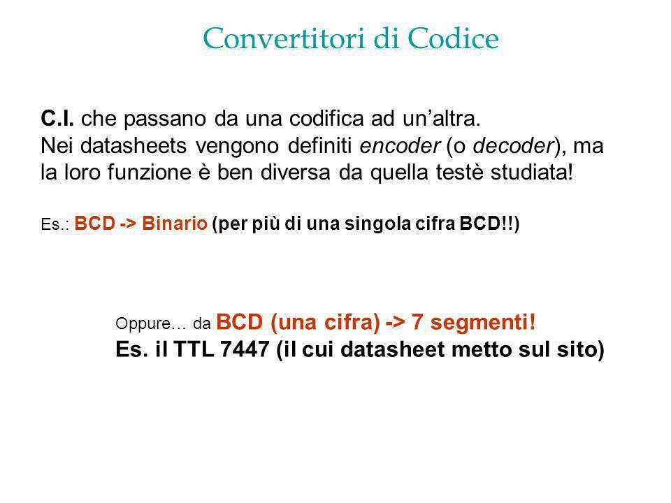 Convertitori di Codice C.I. che passano da una codifica ad unaltra. Nei datasheets vengono definiti encoder (o decoder), ma la loro funzione è ben div