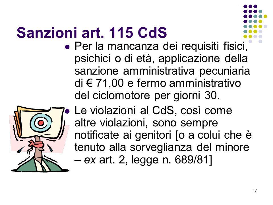 16 Sanzioni art. 115 CdS Per il trasporto di passeggero, applicazione di una sanzione amministrativa pecuniaria di 35,00 e fermo amministrativo del ci