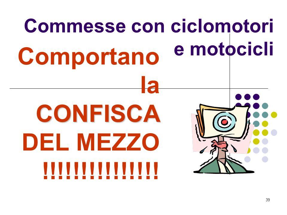 38 Per effetto delle disposizioni della legge n. 168/05 tutte le violazioni agli articoli: 169, comma 2 CdS (trasporto di più persone in relazione a q