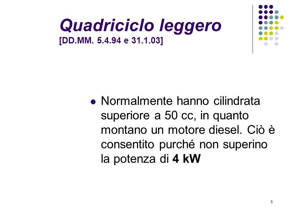 5 Ciclomotore: il veicolo Art. 52 CdS classificazione Art. 97 CdS circolazione [dal 1° luglio 2004, nuovi concetti di certificato di circolazione e di