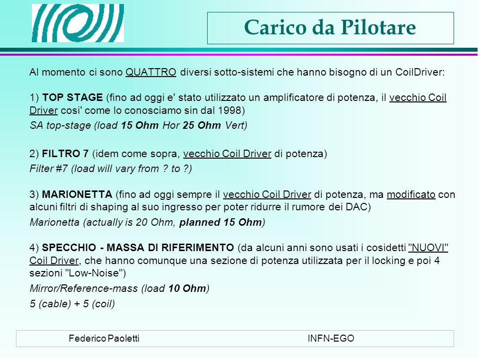 Federico PaolettiINFN-EGO Carico da Pilotare Al momento ci sono QUATTRO diversi sotto-sistemi che hanno bisogno di un CoilDriver: 1) TOP STAGE (fino ad oggi e stato utilizzato un amplificatore di potenza, il vecchio Coil Driver cosi come lo conosciamo sin dal 1998) SA top-stage (load 15 Ohm Hor 25 Ohm Vert) 2) FILTRO 7 (idem come sopra, vecchio Coil Driver di potenza) Filter #7 (load will vary from .