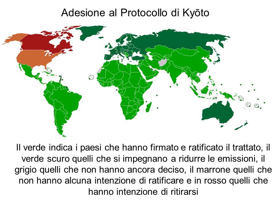 Adesione al Protocollo di Kyōto Il verde indica i paesi che hanno firmato e ratificato il trattato, il verde scuro quelli che si impegnano a ridurre le emissioni, il grigio quelli che non hanno ancora deciso, il marrone quelli che non hanno alcuna intenzione di ratificare e in rosso quelli che hanno intenzione di ritirarsi