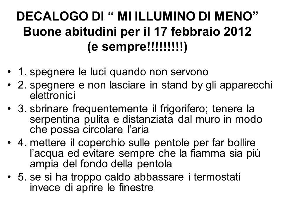 DECALOGO DI MI ILLUMINO DI MENO Buone abitudini per il 17 febbraio 2012 (e sempre!!!!!!!!!) 1.