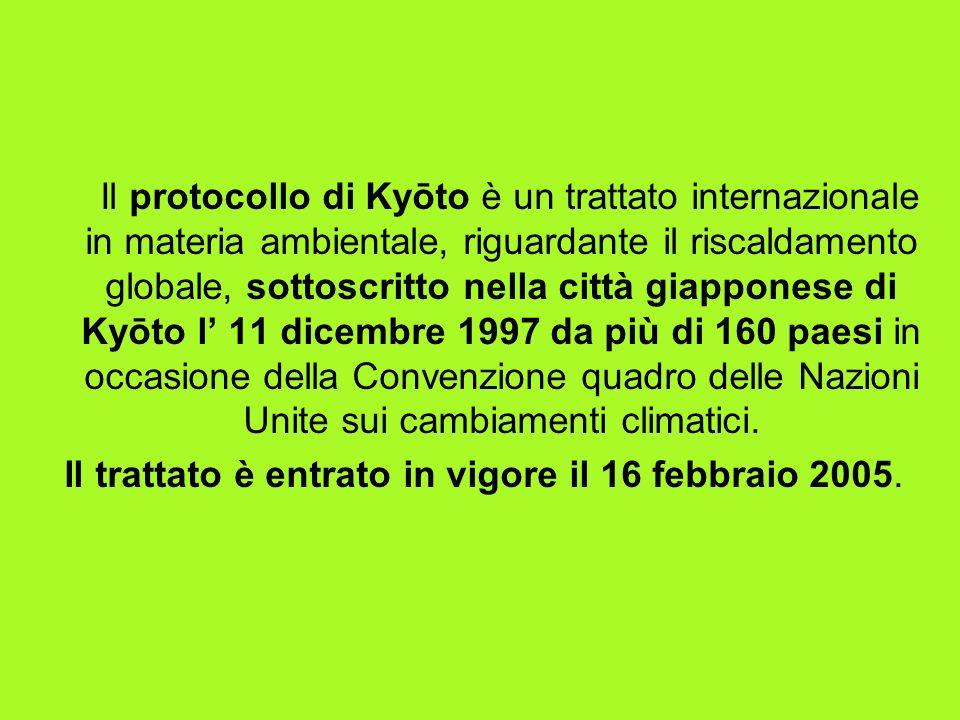 Il protocollo di Kyōto è un trattato internazionale in materia ambientale, riguardante il riscaldamento globale, sottoscritto nella città giapponese di Kyōto l 11 dicembre 1997 da più di 160 paesi in occasione della Convenzione quadro delle Nazioni Unite sui cambiamenti climatici.