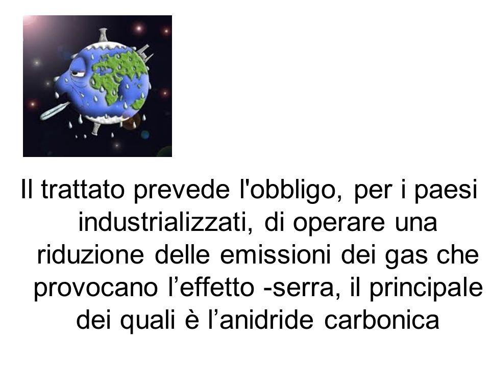 Il trattato prevede l obbligo, per i paesi industrializzati, di operare una riduzione delle emissioni dei gas che provocano leffetto -serra, il principale dei quali è lanidride carbonica