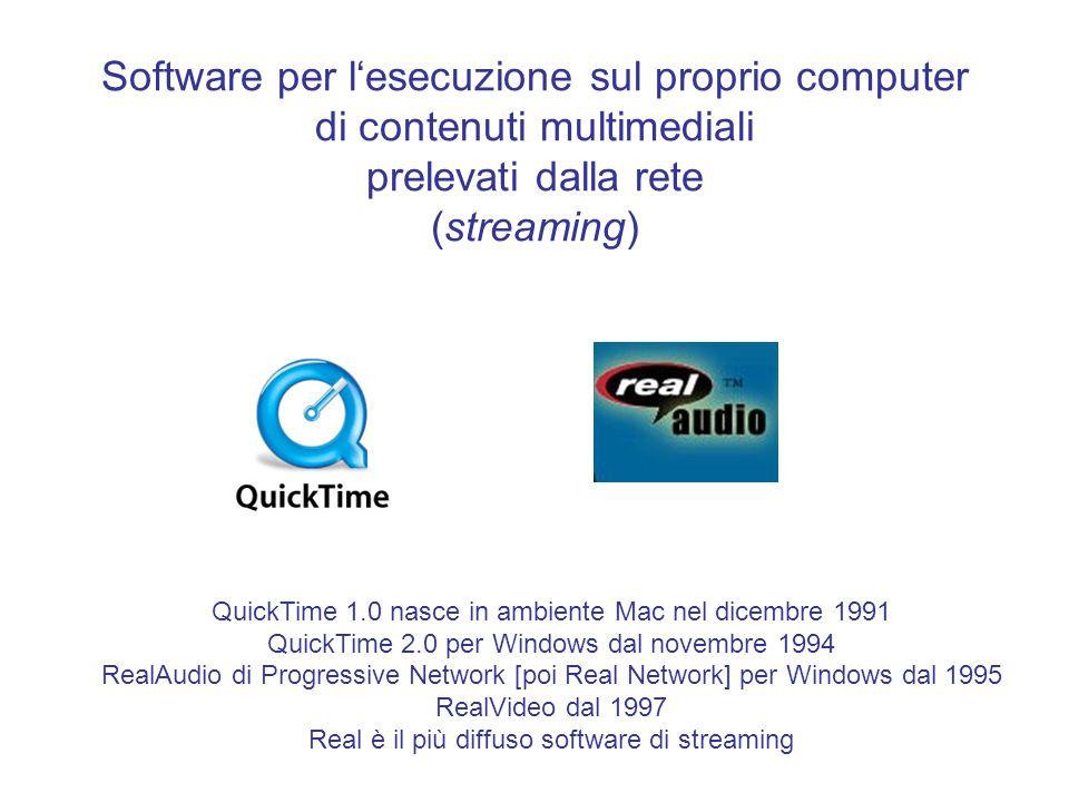 Software per lesecuzione sul proprio computer di contenuti multimediali prelevati dalla rete (streaming) QuickTime 1.0 nasce in ambiente Mac nel dicem