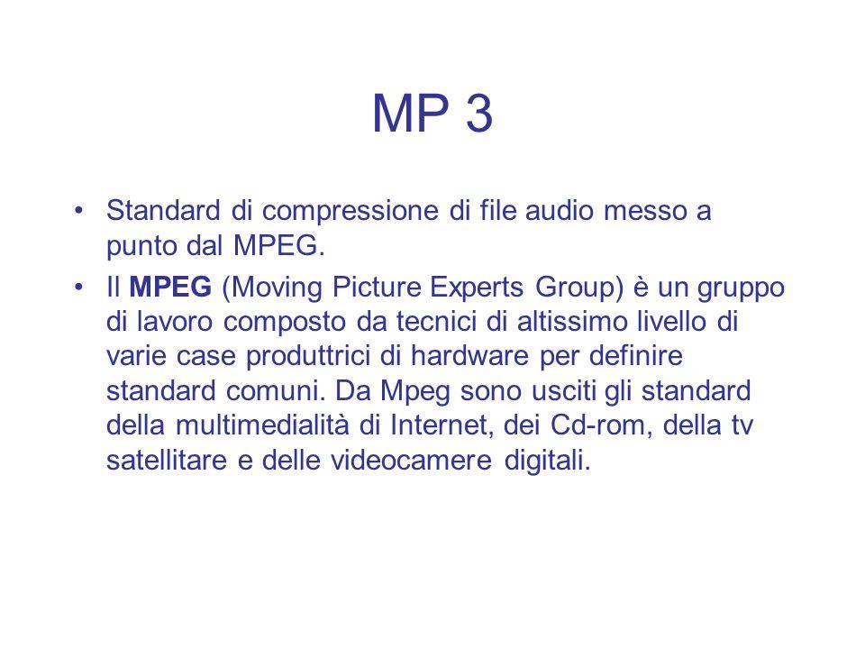 MP 3 Standard di compressione di file audio messo a punto dal MPEG. Il MPEG (Moving Picture Experts Group) è un gruppo di lavoro composto da tecnici d