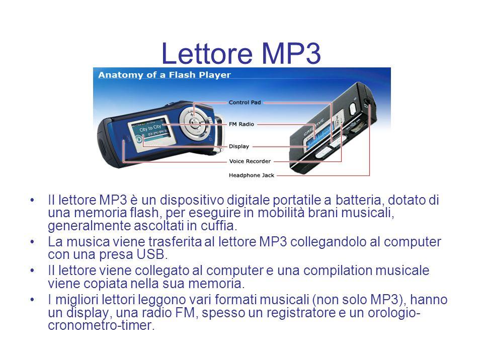 Lettore MP3 Il lettore MP3 è un dispositivo digitale portatile a batteria, dotato di una memoria flash, per eseguire in mobilità brani musicali, gener