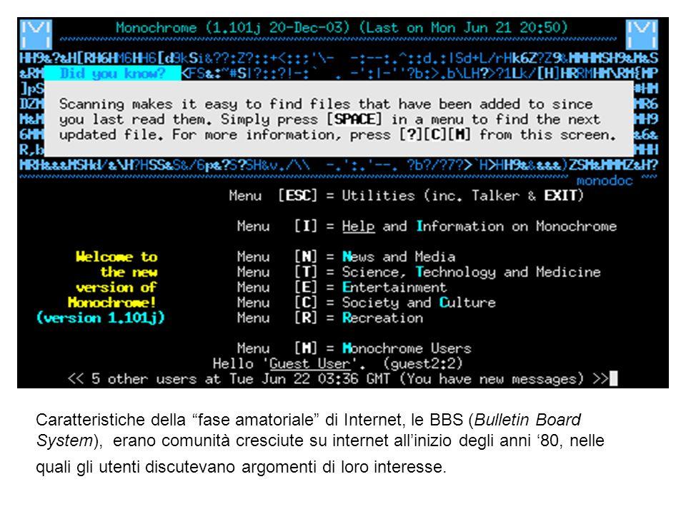 Caratteristiche della fase amatoriale di Internet, le BBS (Bulletin Board System), erano comunità cresciute su internet allinizio degli anni 80, nelle
