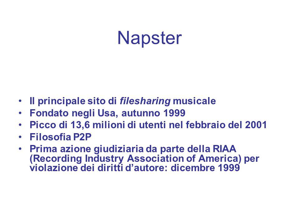 Il principale sito di filesharing musicale Fondato negli Usa, autunno 1999 Picco di 13,6 milioni di utenti nel febbraio del 2001 Filosofia P2P Prima a