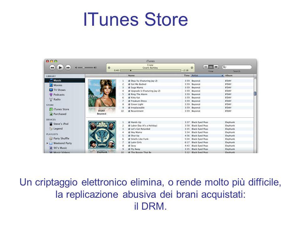 ITunes Store Un criptaggio elettronico elimina, o rende molto più difficile, la replicazione abusiva dei brani acquistati: il DRM.