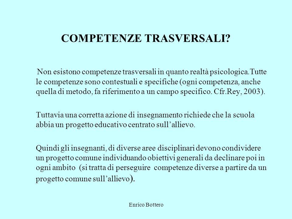 Enrico Bottero COMPETENZE TRASVERSALI? Non esistono competenze trasversali in quanto realtà psicologica.Tutte le competenze sono contestuali e specifi
