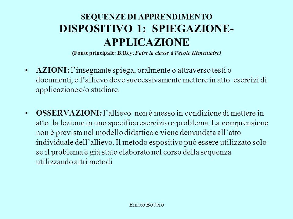 Enrico Bottero SEQUENZE DI APPRENDIMENTO DISPOSITIVO 1: SPIEGAZIONE- APPLICAZIONE (Fonte principale: B.Rey, Faire la classe à lécole élémentaire ) AZI