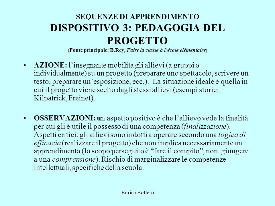Enrico Bottero SEQUENZE DI APPRENDIMENTO DISPOSITIVO 3: PEDAGOGIA DEL PROGETTO (Fonte principale: B.Rey, Faire la classe à lécole élémentaire) AZIONE: