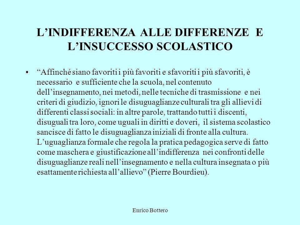 Enrico Bottero LINDIFFERENZA ALLE DIFFERENZE E LINSUCCESSO SCOLASTICO Affinché siano favoriti i più favoriti e sfavoriti i più sfavoriti, è necessario