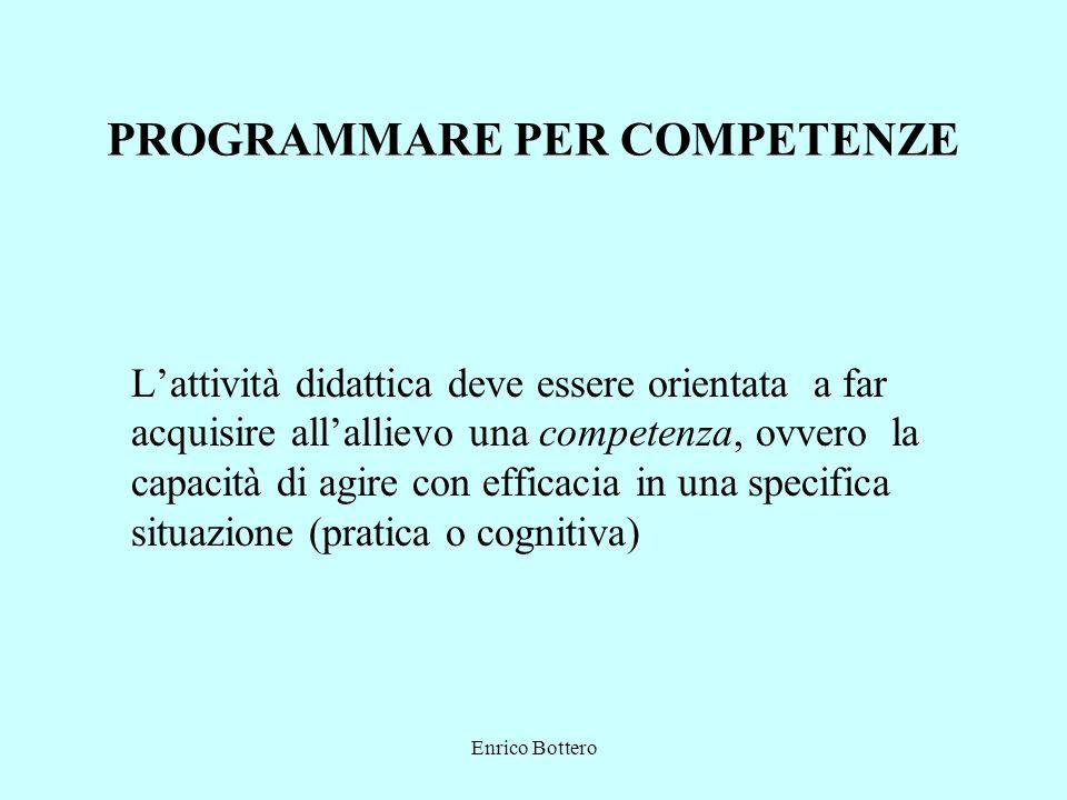 Enrico Bottero PROGRAMMARE PER COMPETENZE Lattività didattica deve essere orientata a far acquisire allallievo una competenza, ovvero la capacità di agire con efficacia in una specifica situazione (pratica o cognitiva)
