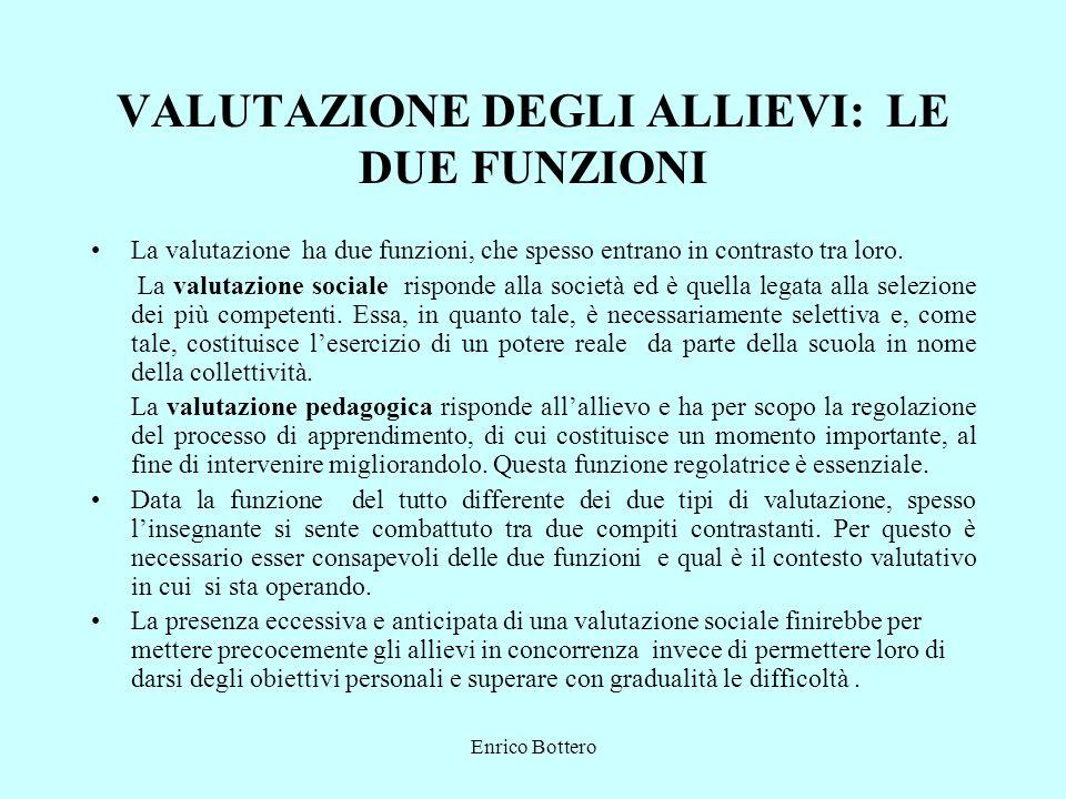 Enrico Bottero VALUTAZIONE DEGLI ALLIEVI: LE DUE FUNZIONI La valutazione ha due funzioni, che spesso entrano in contrasto tra loro.