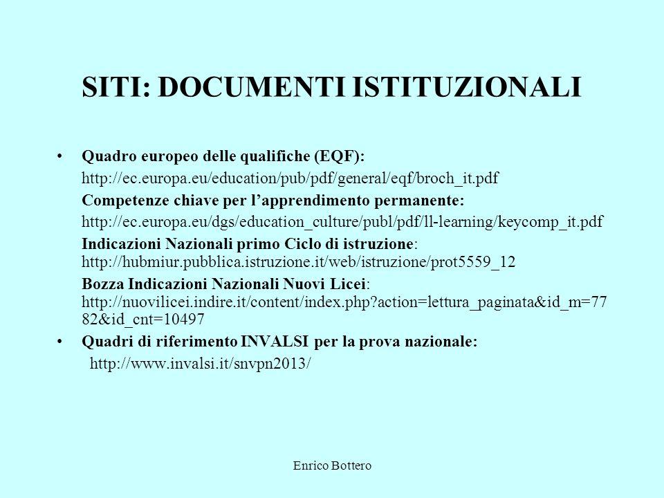 Enrico Bottero SITI: DOCUMENTI ISTITUZIONALI Quadro europeo delle qualifiche (EQF): http://ec.europa.eu/education/pub/pdf/general/eqf/broch_it.pdf Com