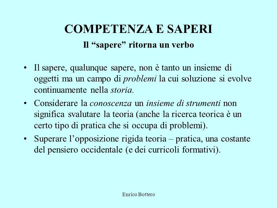 Enrico Bottero COMPETENZA E SAPERI Il sapere ritorna un verbo Il sapere, qualunque sapere, non è tanto un insieme di oggetti ma un campo di problemi l