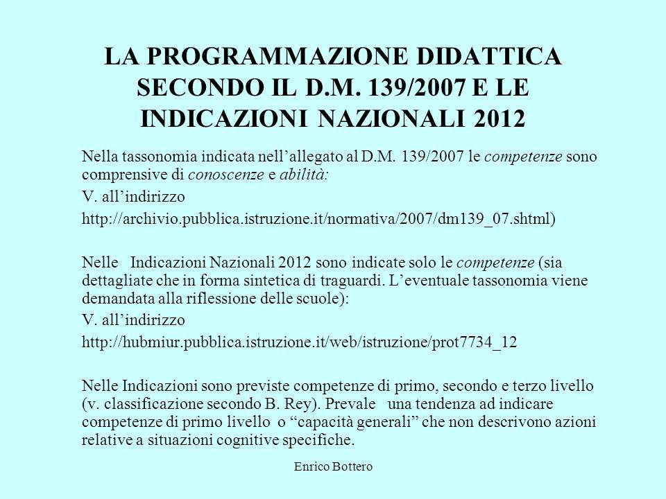 Enrico Bottero LA PROGRAMMAZIONE DIDATTICA SECONDO IL D.M. 139/2007 E LE INDICAZIONI NAZIONALI 2012 Nella tassonomia indicata nellallegato al D.M. 139