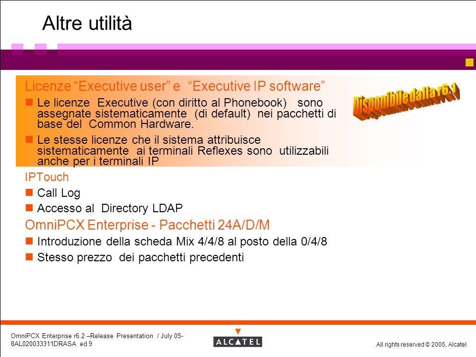 All rights reserved © 2005, Alcatel OmniPCX Enterprise r6.2 –Release Presentation / July 05- 8AL020033311DRASA ed 9 Altre utilità Licenze Executive us