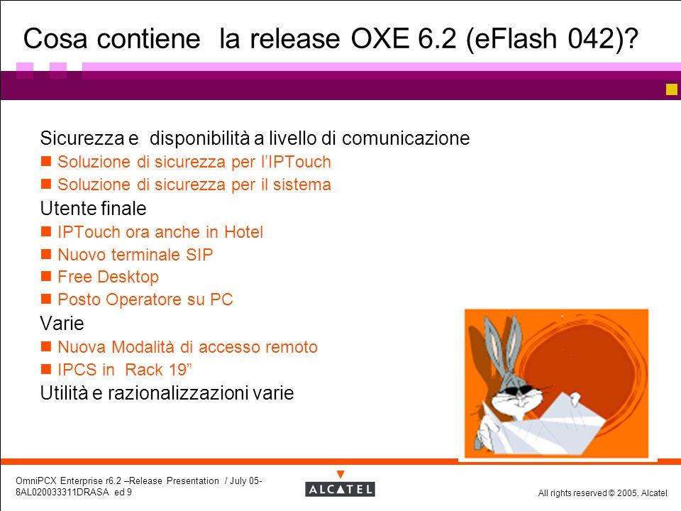 All rights reserved © 2005, Alcatel OmniPCX Enterprise r6.2 –Release Presentation / July 05- 8AL020033311DRASA ed 9 Cosa contiene la release OXE 6.2 (