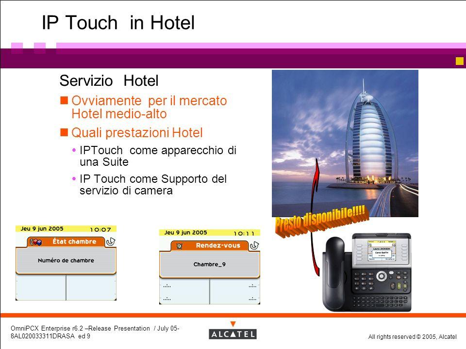 All rights reserved © 2005, Alcatel OmniPCX Enterprise r6.2 –Release Presentation / July 05- 8AL020033311DRASA ed 9 IP Touch in Hotel Servizio Hotel O