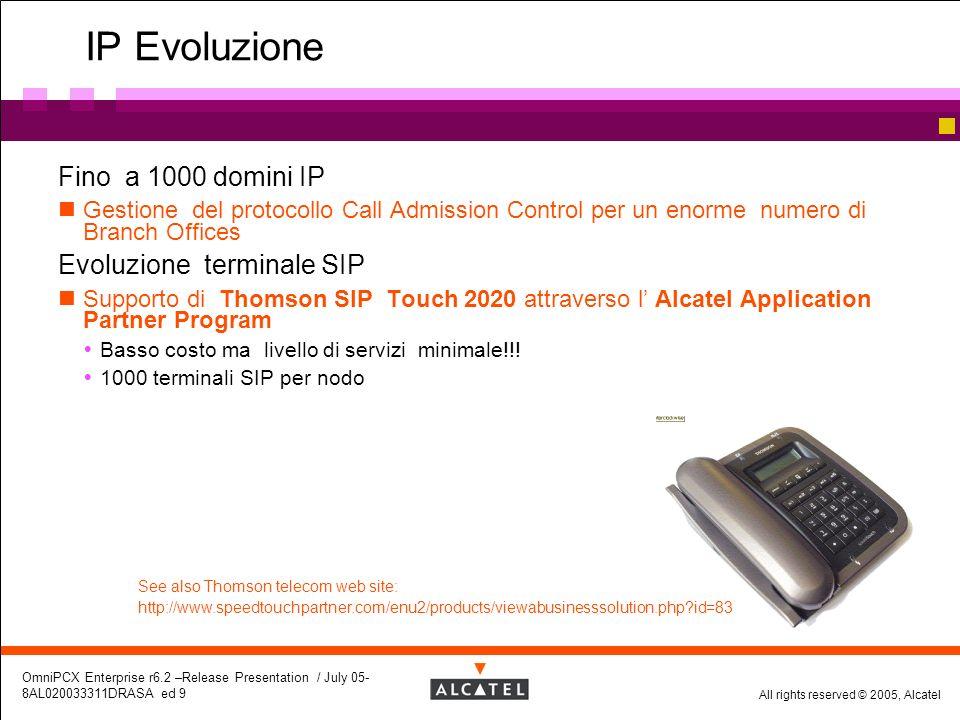 All rights reserved © 2005, Alcatel OmniPCX Enterprise r6.2 –Release Presentation / July 05- 8AL020033311DRASA ed 9 IP Evoluzione Fino a 1000 domini I