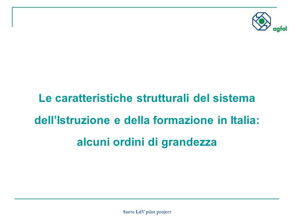 Saeto LdV pilot project Le caratteristiche strutturali del sistema dellIstruzione e della formazione in Italia: alcuni ordini di grandezza