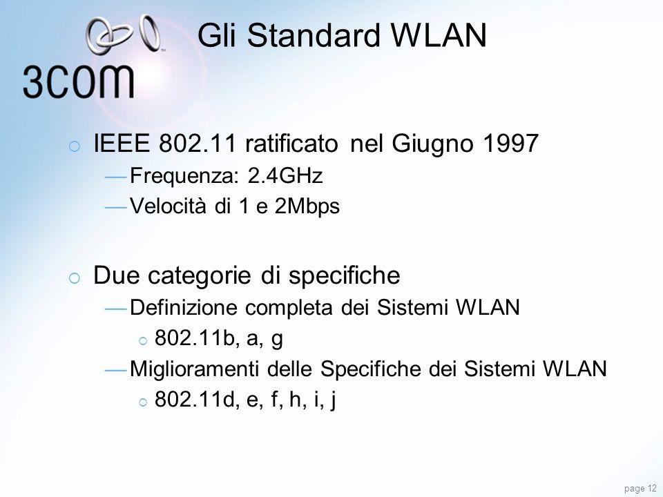 page 12 Gli Standard WLAN IEEE 802.11 ratificato nel Giugno 1997 Frequenza: 2.4GHz Velocità di 1 e 2Mbps Due categorie di specifiche Definizione compl