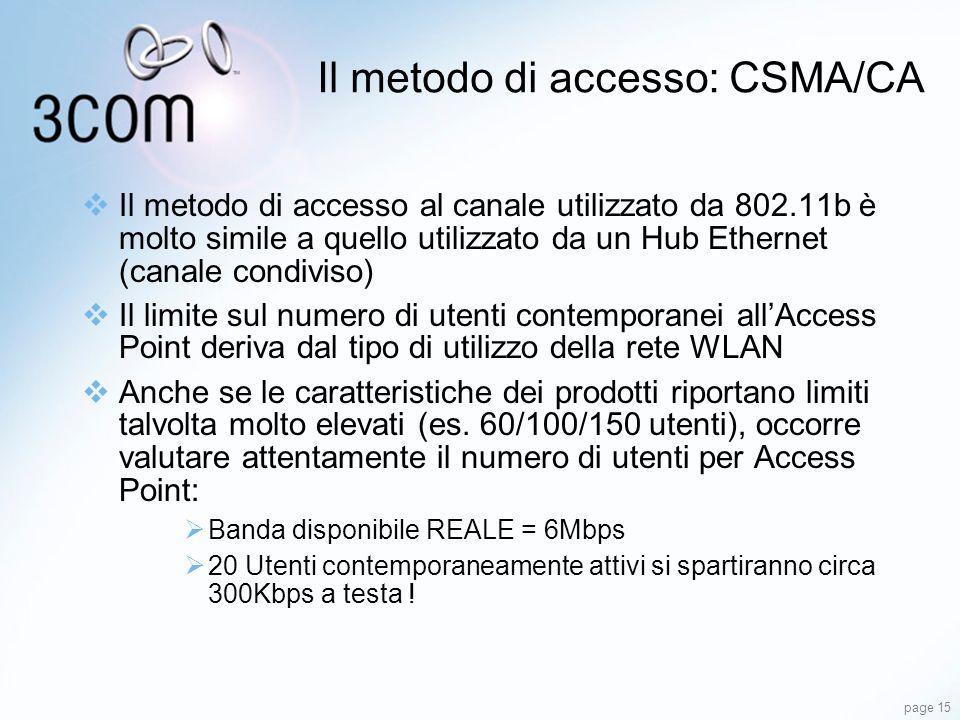 page 15 Il metodo di accesso al canale utilizzato da 802.11b è molto simile a quello utilizzato da un Hub Ethernet (canale condiviso) Il limite sul nu