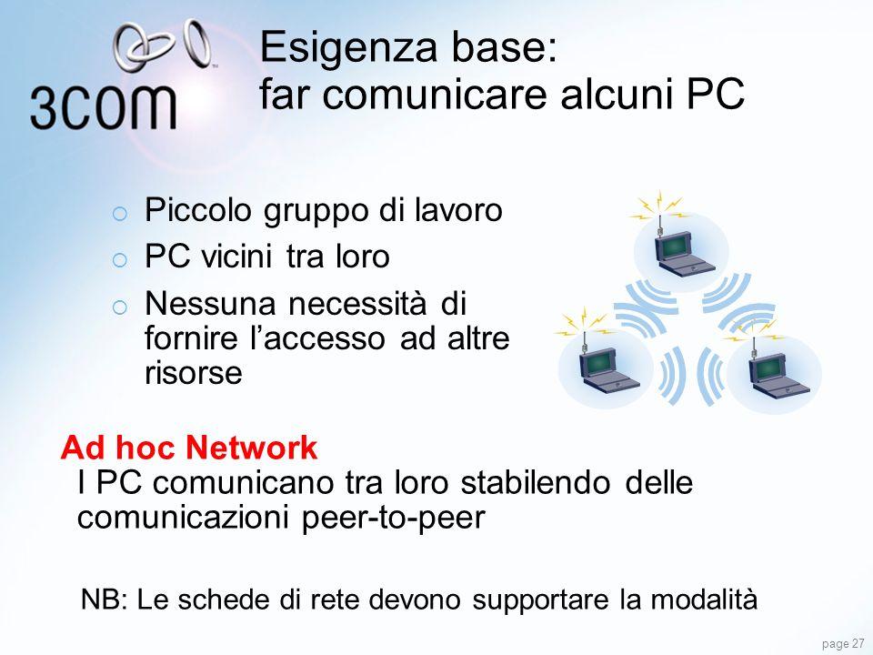 page 27 Esigenza base: far comunicare alcuni PC Ad hoc Network I PC comunicano tra loro stabilendo delle comunicazioni peer-to-peer NB: Le schede di r