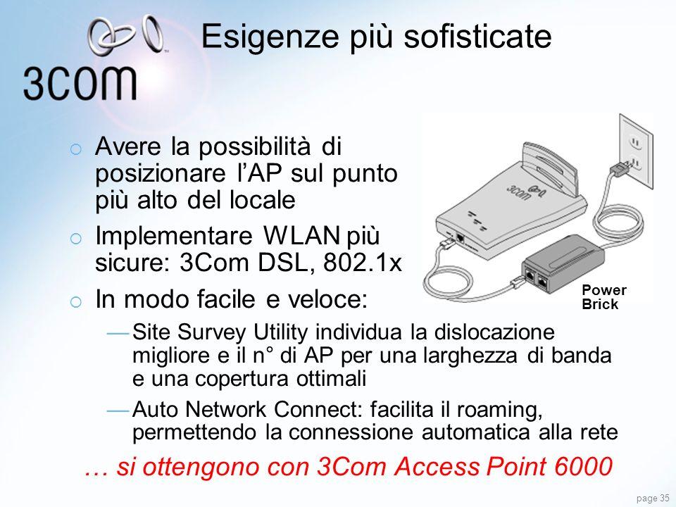 page 35 Esigenze più sofisticate Avere la possibilità di posizionare lAP sul punto più alto del locale Implementare WLAN più sicure: 3Com DSL, 802.1x