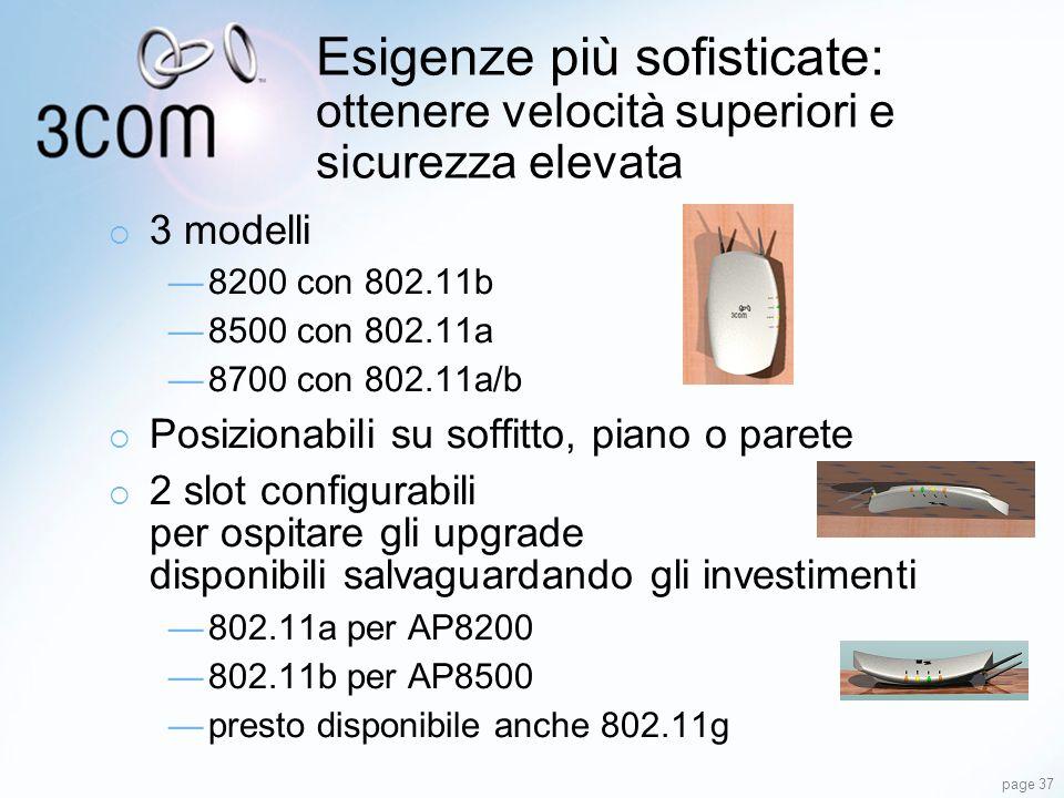 page 37 Esigenze più sofisticate: ottenere velocità superiori e sicurezza elevata 3 modelli 8200 con 802.11b 8500 con 802.11a 8700 con 802.11a/b Posiz