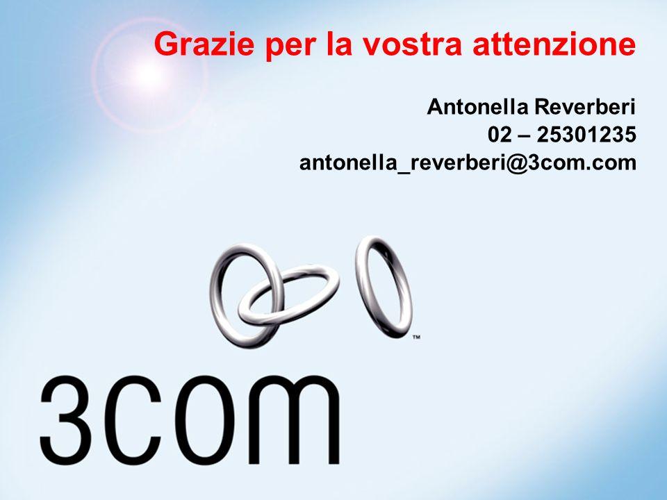 Grazie per la vostra attenzione Antonella Reverberi 02 – 25301235 antonella_reverberi@3com.com
