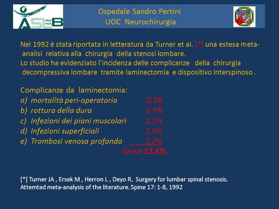 La percentuale delle complicanze nella chirurgia decompressiva lombare con il posizionamento di dispositivi interspinosi [*] è risultata del 3,3% a)Frattura dei processi spinosi b)Dislocazione della protesi c)Infezioni della ferita [*] Turner JA, Ersek M, Herron L, Deyo R, Surgery for lumbar spinal stenosis.